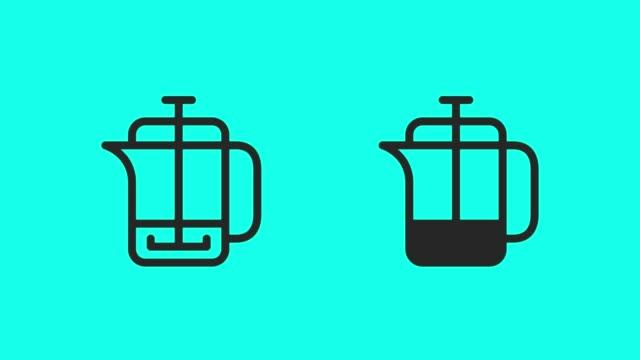 vídeos y material grabado en eventos de stock de prensa de francia animan iconos café - vector - vector