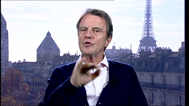 france to begin mission to tackle sectarian violence; england: london: gir: int bernard kouchner interview from paris sot - krishnan guru murthy stock videos & royalty-free footage