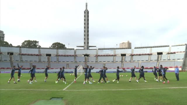 france trains ahead of wednesdays friendly match against uruguay in the countrys mythical estadio centenario centenario stadium where the first fifa... - montevideo stock videos & royalty-free footage