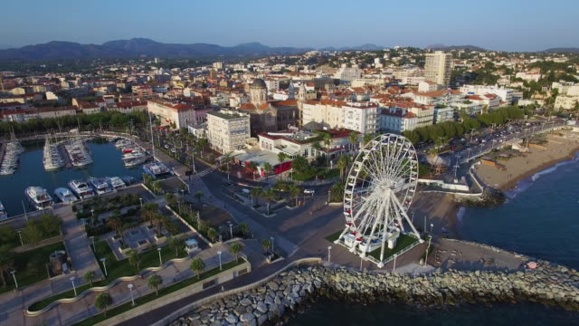 france, var, aerial view of saint raphael's harbor - var stock videos & royalty-free footage
