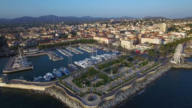 France, Var, Aerial view of Saint Raphael's Harbor
