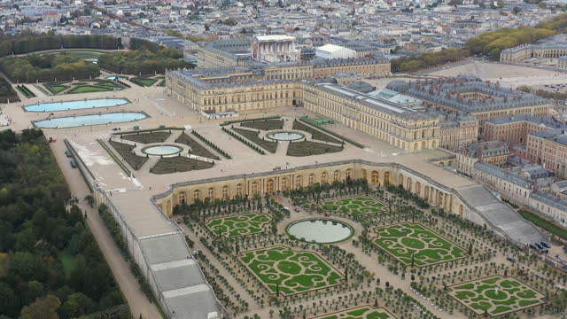 france, versailles castle drone aerial view - helicopter point of view stock videos & royalty-free footage