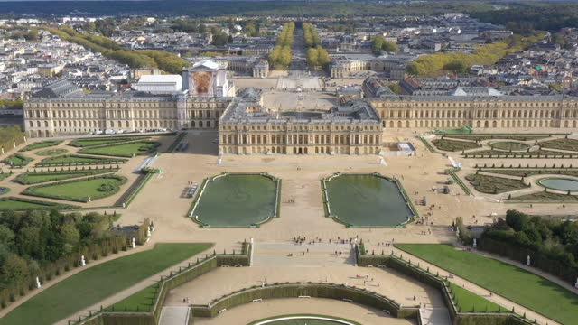 france, versailles castle drone aerial view - unesco world heritage site stock videos & royalty-free footage