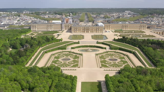 france, versailles castle drone aerial view - france stock videos & royalty-free footage