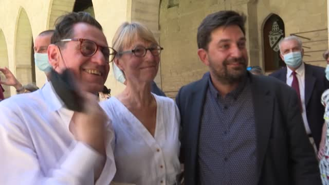 france's avignon theatre festival, the largest festival of its kind in the world, opens today with 100% capacity, new installations in the palais des... - roselyne bachelot stock videos & royalty-free footage