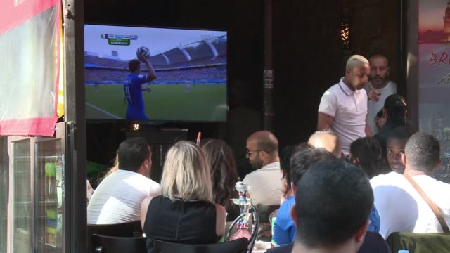 frances bars restaurants and retail shops are riding the feel good wave in the wake of the national squads world cup wins - sportweltmeisterschaft stock-videos und b-roll-filmmaterial