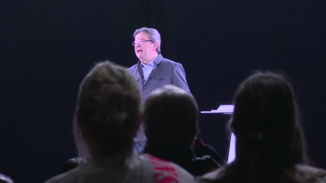 france's far-left presidential candidate melenchon takes his signature campaign gimmick even further appearing live in front of a crowd in the... - holographic stock videos & royalty-free footage