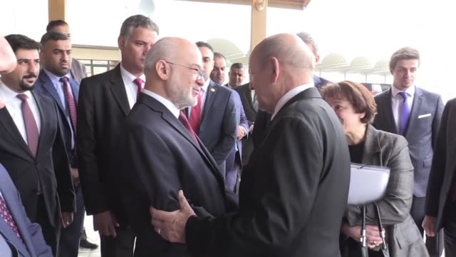 france's foreign minister jean yves le drian visited iraq on monday to discuss the war torn country's reconstruction after baghdad declared victory... - isil konflikt stock-videos und b-roll-filmmaterial