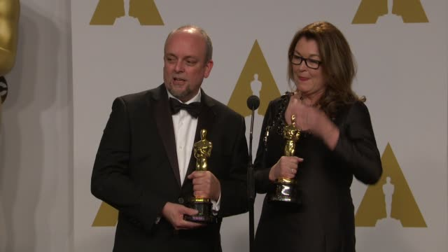 stockvideo's en b-roll-footage met speech frances hannon mark coulier at 87th annual academy awards press room at dolby theatre on february 22 2015 in hollywood california - dolby theatre