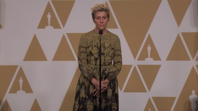 SPEECH Frances McDormand at the 90th Academy Awards Press Room at the 90th Academy Awards Press Room at Dolby Theatre on March 04 2018 in Hollywood...