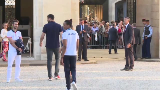 france's medal winning olympians were welcomed at paris elysee palace on tuesday by president francois hollande - françois hollande stock videos & royalty-free footage