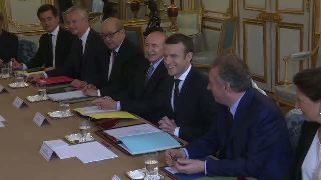 france's newlyelected emmanuel macron presided over his first ministers' council on thursday with a new cabinet of 22 people mixing socialist... - government minister stock videos & royalty-free footage