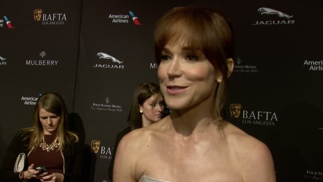 interview frances o'connor on being a nominee on being at the event on what makes the bafta tea party one of the most prestigious events of the... - golden globe awards stock videos and b-roll footage