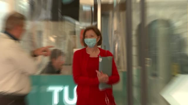 frances o'grady arriving for the tuc congress 2020; england: london: congress house: int frances o'grady arriving, putting on face mask and chatting... - trades union congress stock videos & royalty-free footage
