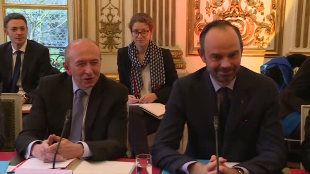 France's Prime Minister Edouard Philippe welcomes migrant rights advocates to the Matignon Palace over a planned immigration law which has drawn...
