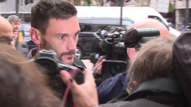 france's world cup winning captain hugo lloris arrives at court in london over a drink driving charge after a roadside breathalyser test reportedly... - hugo lloris stock videos and b-roll footage