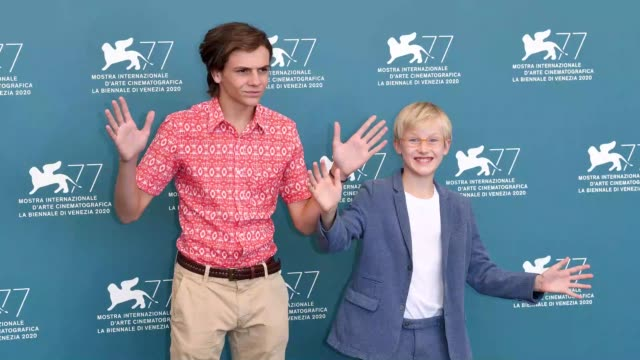 venice italy september 04 francesco gheghi and mattia garaci attend the photocall of the movie padrenostro at the 77th venice film festival on... - gif stock videos & royalty-free footage