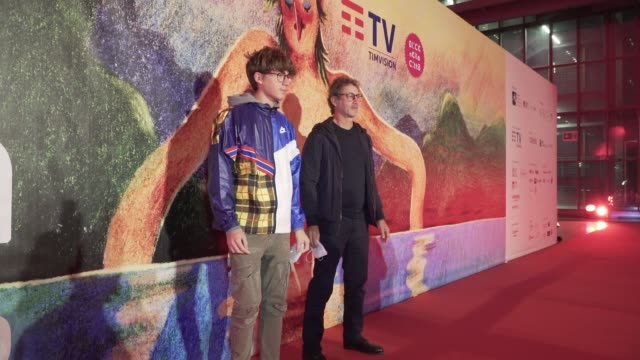 "francesco patierno arrives on the red carpet ahead of the ""le streghe"" screening during the 15th rome film fest on october 25, 2020 in rome, italy. - rome film festival点の映像素材/bロール"