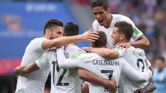 francia supero el viernes 2-0 a uruguay y se convirtio en la primera semifinalista del mundial de rusia-2018 - semifinal round stock videos & royalty-free footage