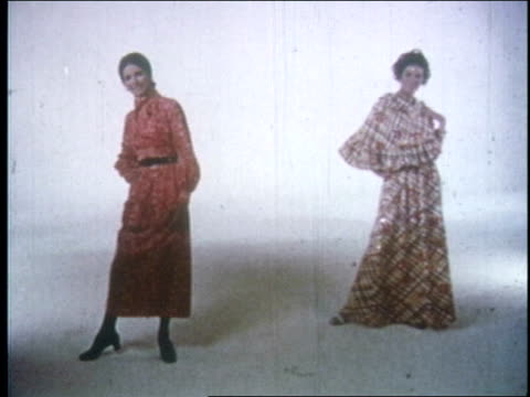 francine coffey, fashion director of the singer company, introduces models wearing several styles of trevira polyester knit clothing / dresses,... - 1970 stock videos & royalty-free footage
