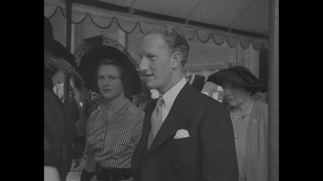 francis scott rumored to be princess margaret's fiance leaves church after wedding / cu scott walking along - princess margaret 1950 stock videos and b-roll footage