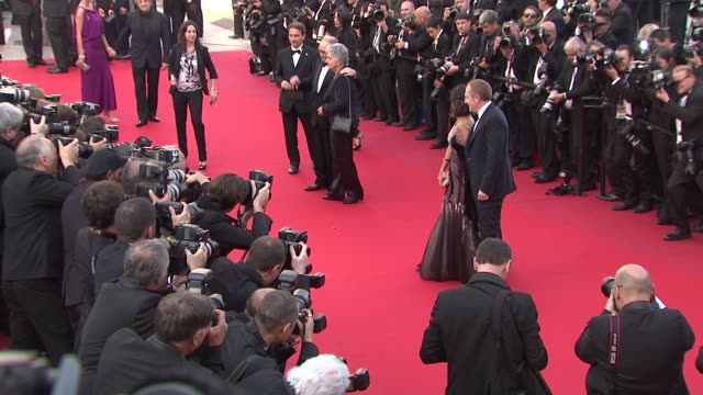 stockvideo's en b-roll-footage met francoishenri pinault ennio morricone and salma hayek at once upon a time in america premiere 65th cannes film festival on may 18 2012 in cannes... - salma hayek