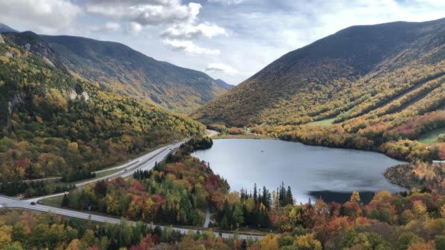 franconia notch state park during autumn  in franconia, new hampshire usa - pond stock videos & royalty-free footage