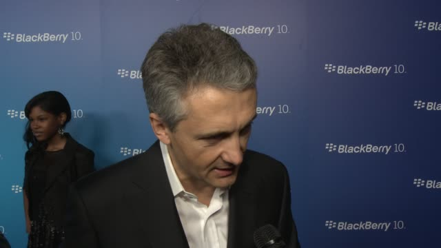 stockvideo's en b-roll-footage met frank boulben from blackberry on the z10 and on the q10 and what users can expect from this new generation of blackberry at blackberry celebrates the... - generation z