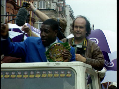 frank bruno in hospital following breakdown itn lib bruno on open top bus with wbc world heavyweight belt 1996 int bruno sitting in press conference... - boxing heavyweight stock videos & royalty-free footage