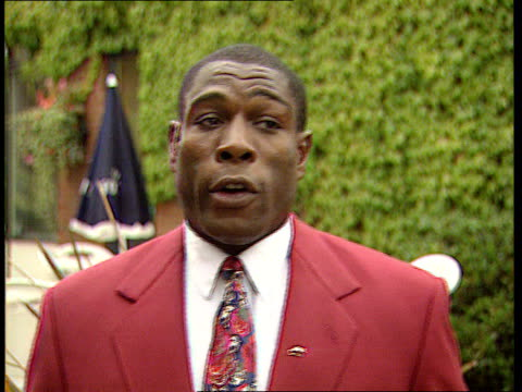 frank bruno retirement:; england: london: ext cms frank bruno intvw sot - has children to bring up and will be a father to them and will enjoy side... - boxing stock videos & royalty-free footage