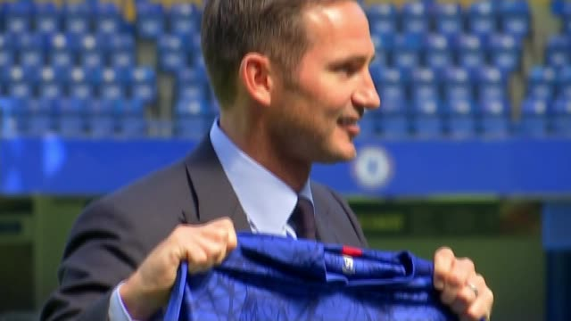 Frank Lampard appointed as manager of Chelsea ENGLAND London Stamford Bridge INT Frank Lampard setup shots at press conference / press conference SOT...