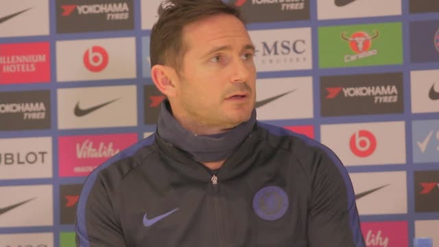 frank lampard criticises var after chelsea's defeat to manchester united; england: london: chelsea: stamford bridge: int frank lampard speaking to... - var stock videos & royalty-free footage