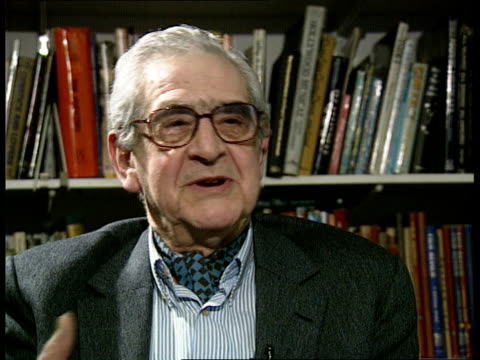 vídeos de stock, filmes e b-roll de frank muir; itn england: london w1 denis norden intvwd - talks of partnership with muir - denis norden