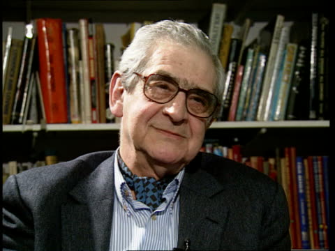 frank muir; itn england: london w1 denis norden intvwd - talks of partnership with muir - フランク・ミューア点の映像素材/bロール