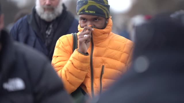 frank ocean wears an orange puffer jacket, a beanie hat from arc'teryx, outside louis vuitton, during paris fashion week - menswear f/w 2019-2020, on... - louis vuitton designer label stock videos & royalty-free footage