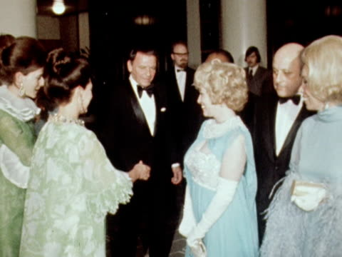 Frank Sinatra and Count Basie meet Princess Margaret after a charity concert in London 1970