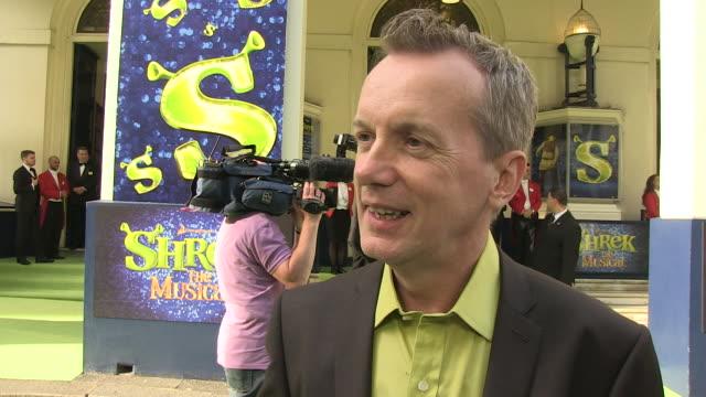 Frank Skinner on winning an award award ceremonies being a Shrek fan being a theatre goer at the Shrek The Musical Press Night at London England