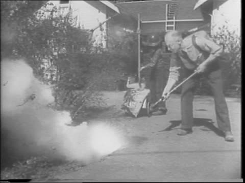 Frank Terramorse who presents the ultimate in home air raid precautions / exterior of home / name of home / A father and his family hear an air raid...