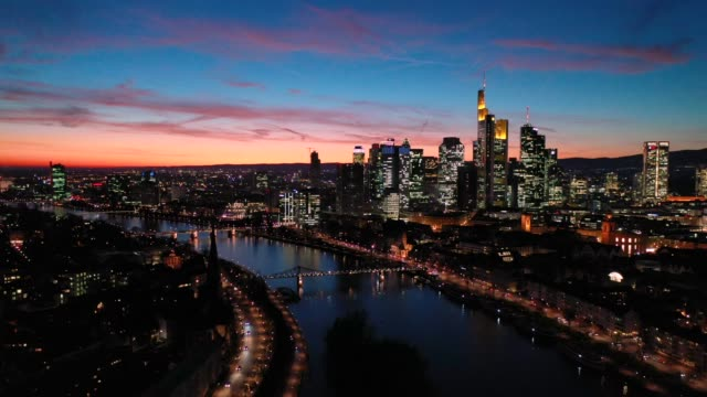 Frankfurt am Main - Aerial - Blue Hour - Flight over the River