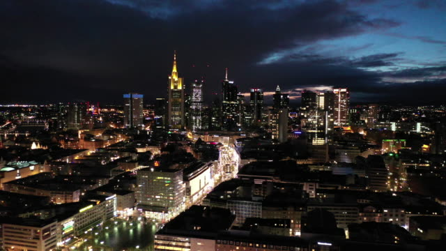 Frankfurt am Main - Aerial - Blue Hour - Skyline & Shopping Street Zeil