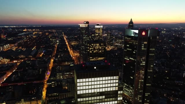 Frankfurt am Main - Aerial - Blue Hour - Sunset - Sideways