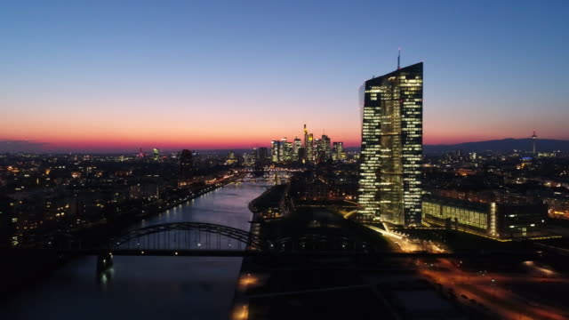 Frankfurt am Main - Aerial - European Central Bank - Blue Hour