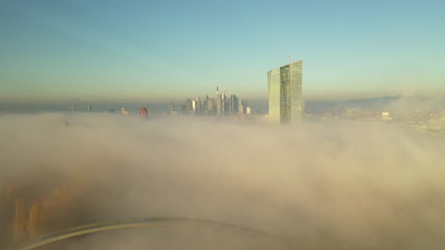 Frankfurt am Main - Aerial - European Central Bank in the Clouds