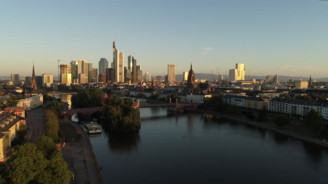 Frankfurt am Main - Aerial - Sunrise at the river Main