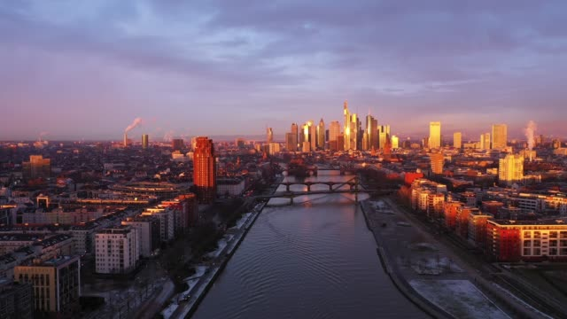 Frankfurt am Main - Aerial - Sunrise - Flight over the River