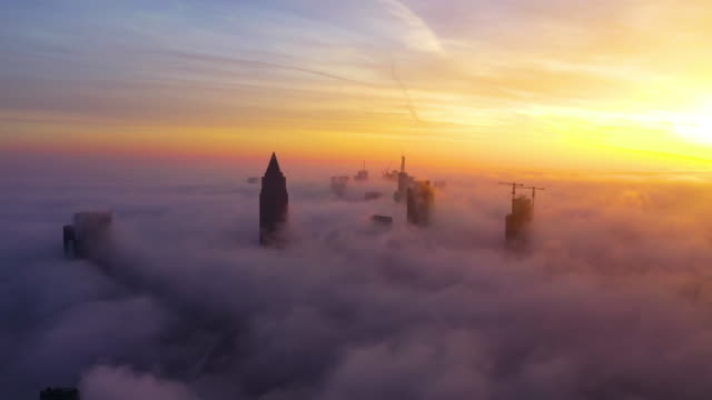 Frankfurt am Main - Aerial - Sunrise in the Clouds