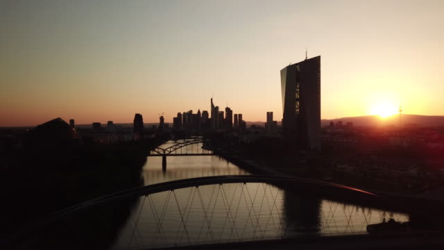Frankfurt am Main - Aerial - Sunset Flight towards the Skyline above the river Main