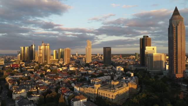 Frankfurt am Main - Aerial - Sunset in the City