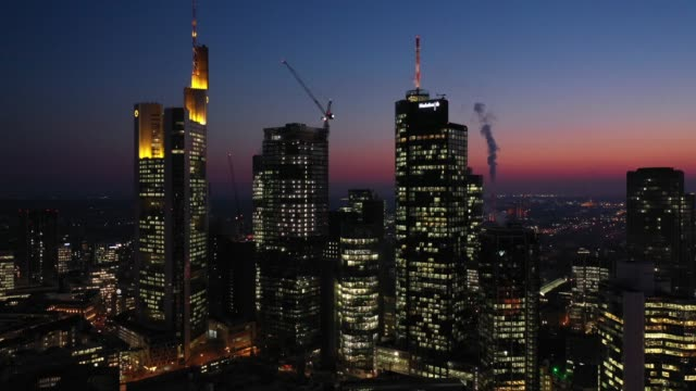 Frankfurt am Main - Aerial - Sunset - Sideways Flight Skyscrapers