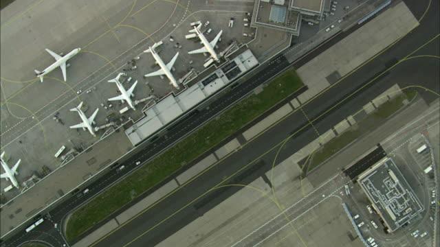 aerial frankfurt am main airport, hesse, germany - hesse germany stock videos & royalty-free footage
